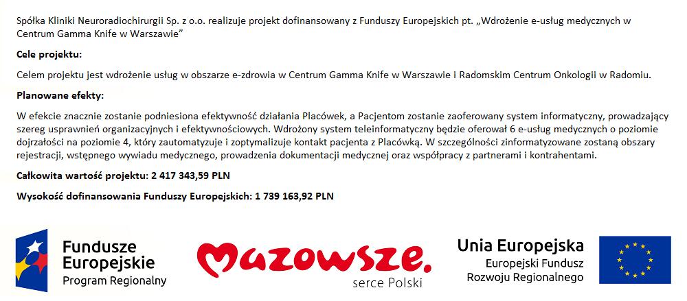 """Grafika projektu """"Wdrożenie e-usług medycznych wCentrum Gamma Knife wWarszawie"""""""
